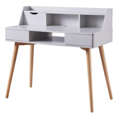 Creativo Light Gray Desk with Solid Wood Leg