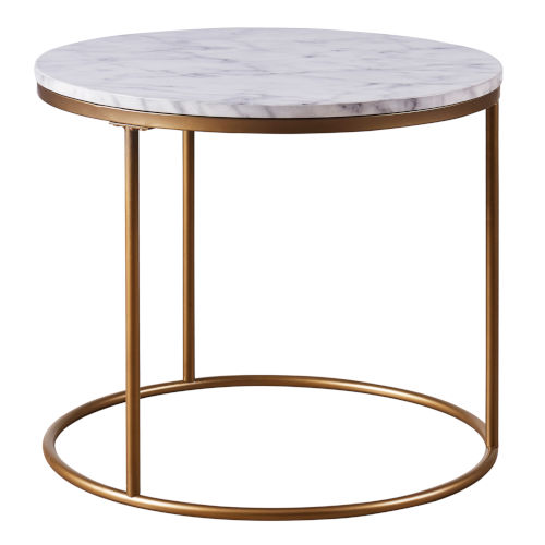 Marmo Faux Marble and Brass Round Side Table with Faux Marble