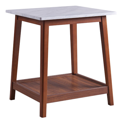 Kingston Walnut Side Table with Faux Marble Top and Solid Wood Leg