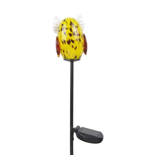 Yellow Outdoor Solar Owl Garden Stake