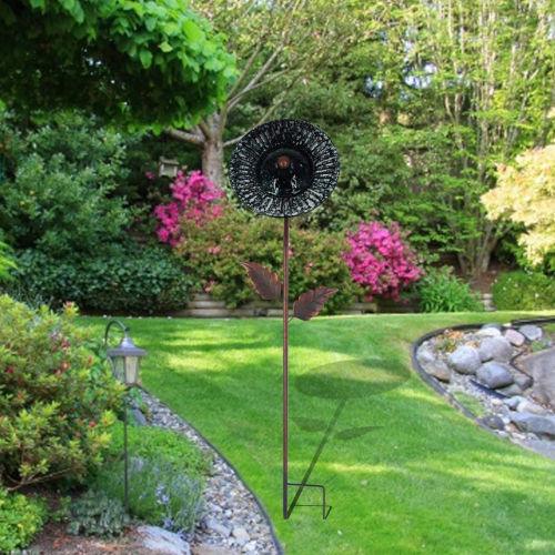 Blue and Black Outdoor 10-Inch Solar Handpainted Sunflower Garden Stake