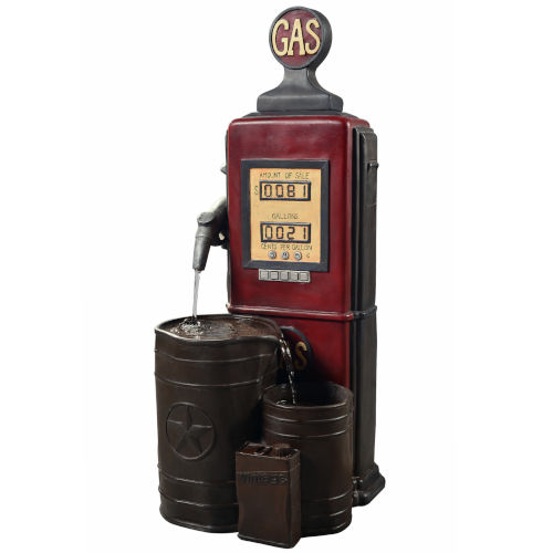 Multicolor Outdoor Vintage Gas Station Waterfall Fountain