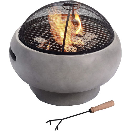 Light Grey Outdoor 21-Inch Round Concrete Wood Burning Fire Pit