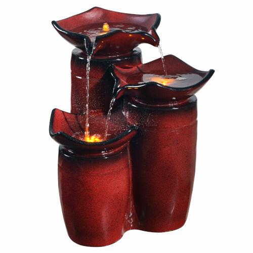 Gradient Red Outdoor Three - Tier Glazed Pots Fountain