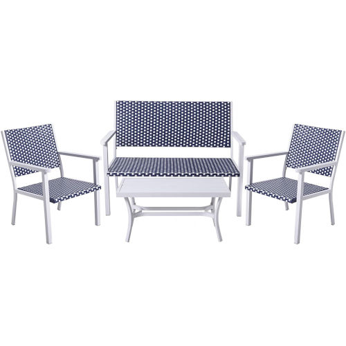 White and Black Coastal Look Wicker Patio Conversation Set, 4 Piece