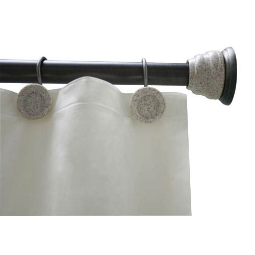 Elegant Home Fashions Deco Rubbed Bronze Oil Shower Curtain Rod And Hook Set