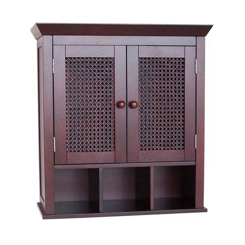 Cane Espresso Two-Door Wall Cabinet with Cubbies