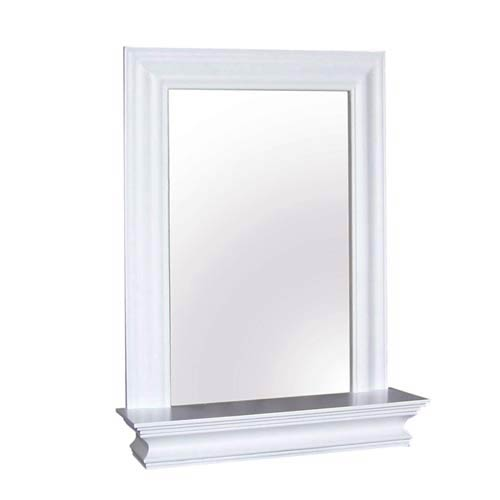 Stratford White Wall Mirror with Shelf