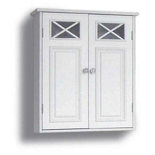 Elegant Home Fashions Dawson White Wall Cabinet with Two Doors