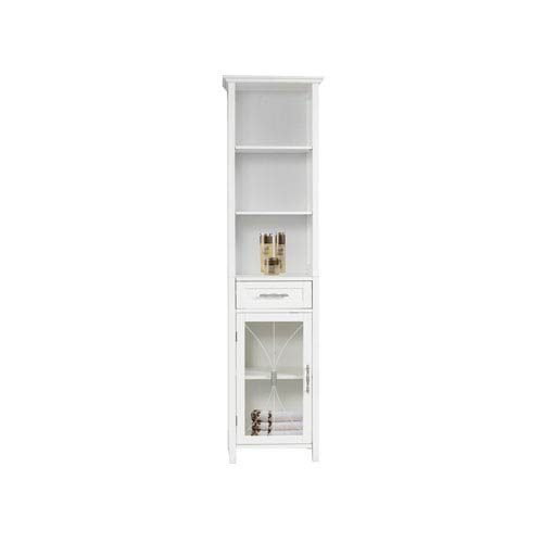 Delaney White Linen Cabinet With One Drawer And Three Open Shelves