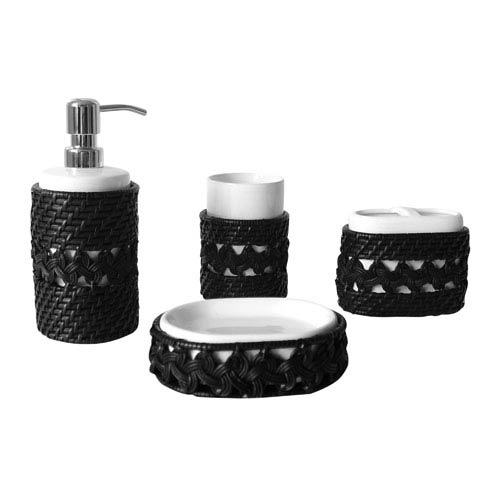 Sebrina Dark Espresso Four Pieces Bathroom Accessory Set