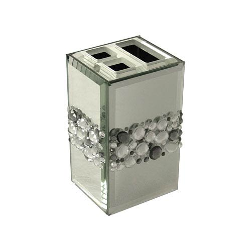 Bling Silver Mirror Beads Toothbrush Holder
