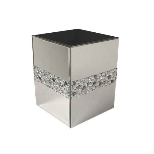 Bling Silver Mirror Beads Wastebasket