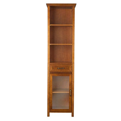 Avery Oak Linen Cabinet with One-Drawer and Three Open Shelves