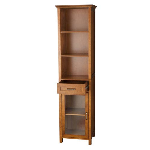 Merveilleux Elegant Home Fashions Avery Oak Linen Cabinet With One Drawer And Three  Open Shelves 286ELG 544_1 ...