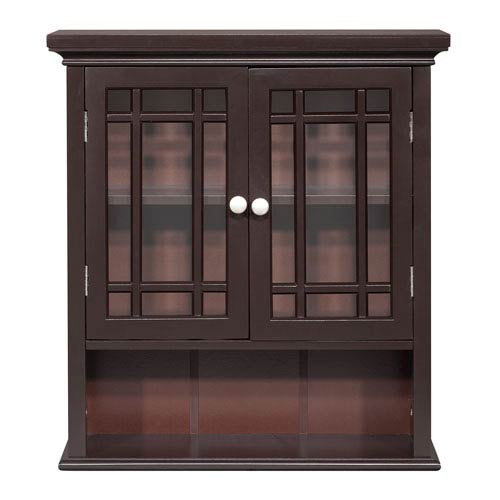 Elegant Home Fashions Neal Dark Espresso Wall Cabinet with Two-Doors and One-Shelf