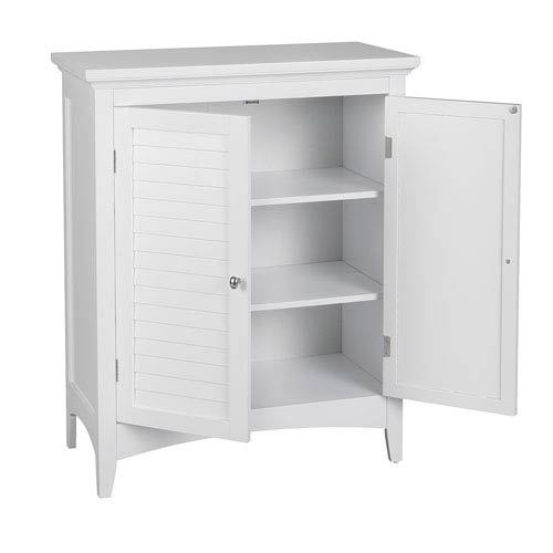 Slone Floor Cabinet with Two Shutter Doors in White