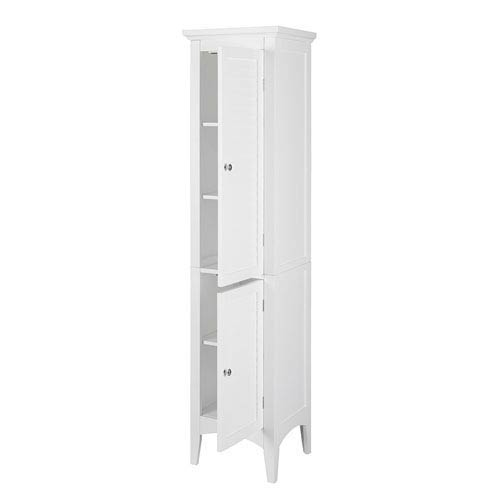 Slone Linen Tower with Two Shutter Doors in White