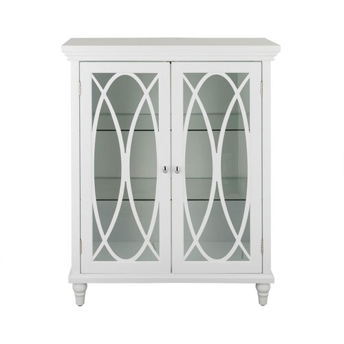 Elegant Home Fashions Florence 32 Inch White Double Door Floor Cabinet
