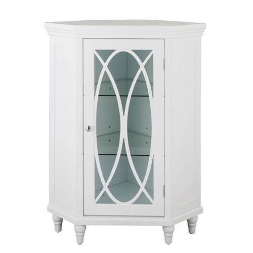 Florence 32-Inch White Corner Floor Cabinet