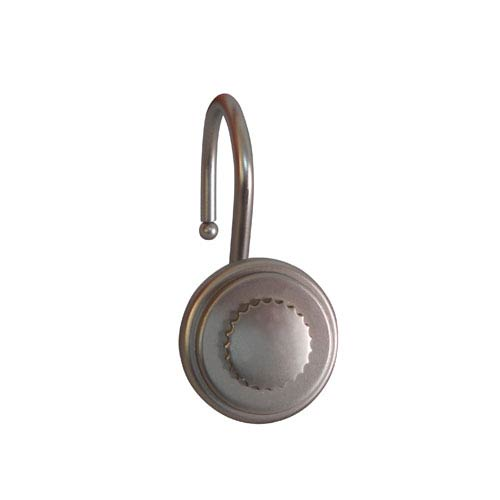 Elegant Home Fashions Shower Hooks Satin Nickel Round Bottle Cap Design