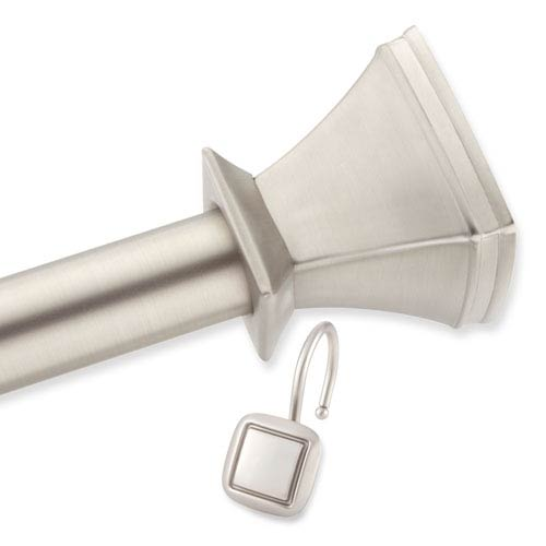 Brushed Nickel Square Decorative Shower Rod and Hooks Set