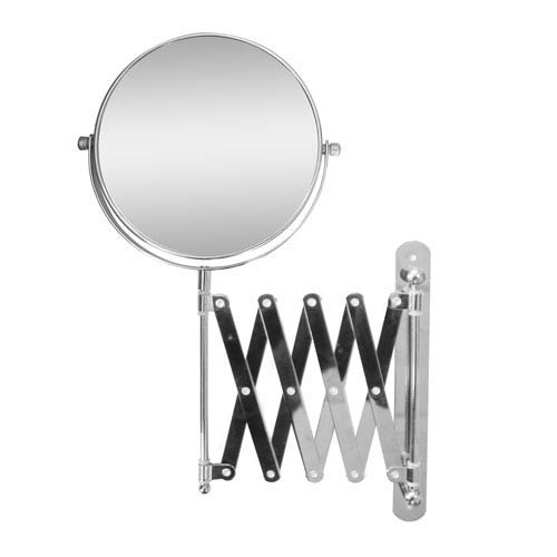 Chrome Extendable Wall Mount Bath Magnifying Makeup Mirror