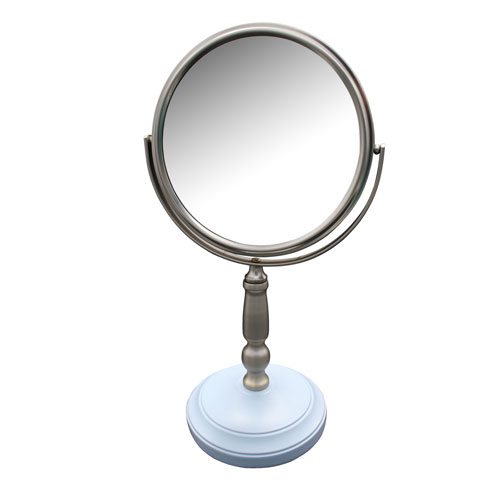Dexter Freestanding Bath Magnifying Makeup Mirror with Frost Blue base and Daisy pedestal