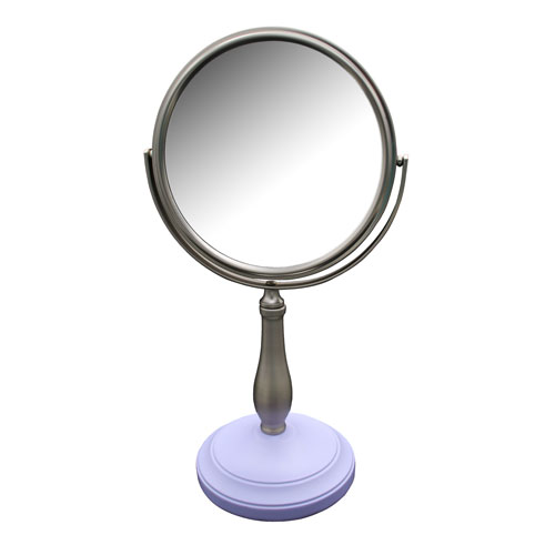 Clancy Freestanding Bath Magnifying Makeup Mirror with Lavender Purple base and Pewy pedestal