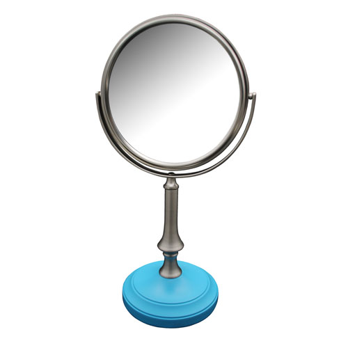 Simplicity Freestanding Bath Magnifying Makeup Mirror with Deep Sea Blue base and Jinjin Pedestal