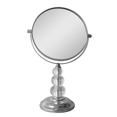Chrome with Clear Acrylic Freestanding Bath Magnifying Makeup Mirror