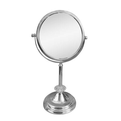 Chrome Sunburst Freestanding Bath Magnifying Makeup Mirror