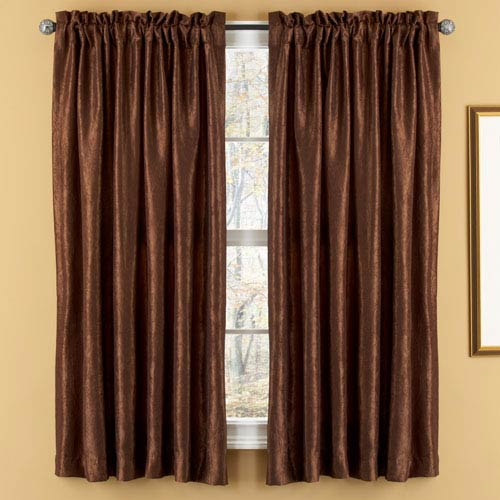 Aretha Chocolate Crushed Faux Silk Window Panels