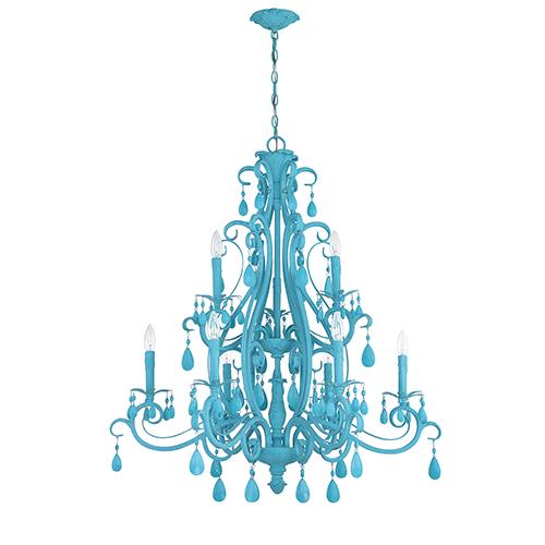 Englewood Turquoise Nine-Light Chandelier