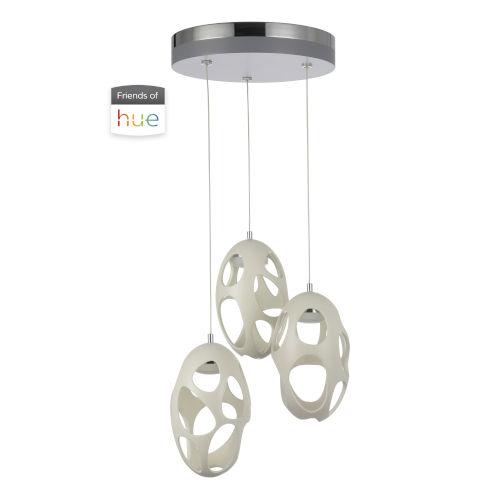 Ovale White Three-Light LED Pendant