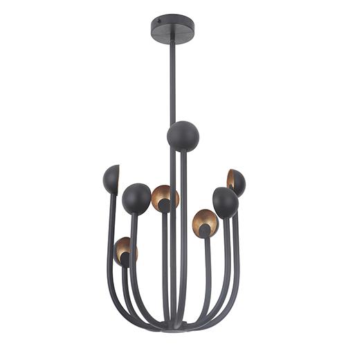Foundry Matte Black and Gold Leaf Eight-Light LED Chandelier