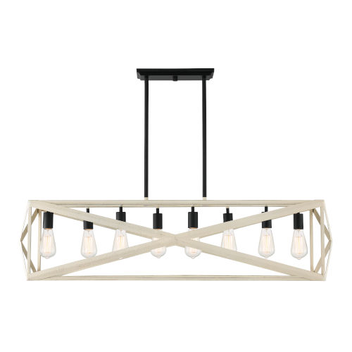 Hansel Cottage White and Espresso Eight-Light Pendant