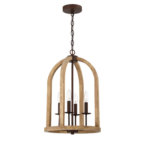 Aberdeen Natural Wood And Aged Bronze Brushed 14-Inch Four-Light Pendant