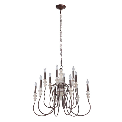 Highgate Cottage White And Forged Metal 32-Inch 12-Light Chandelier