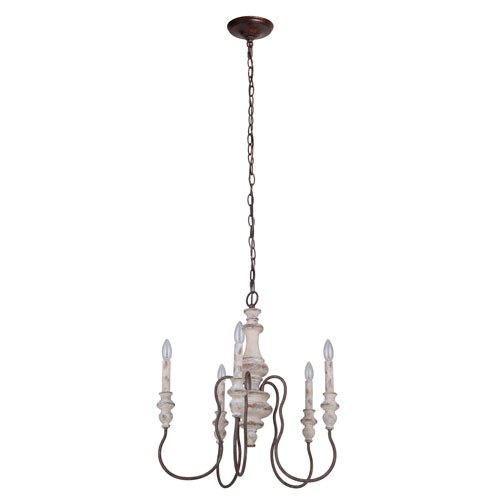 Highgate Cottage White And Forged Metal 23-Inch Five-Light Chandelier