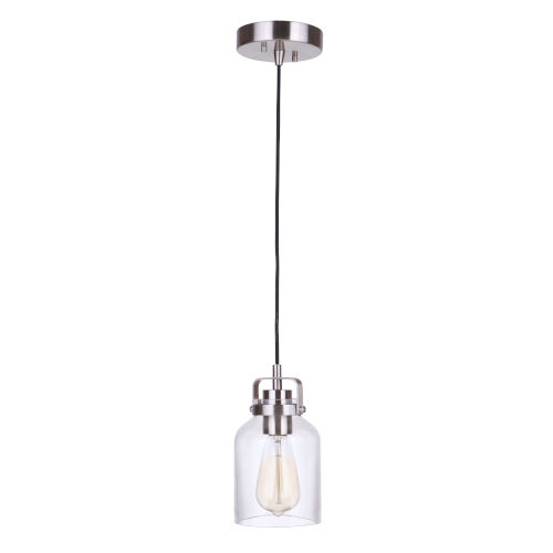 Foxwood Brushed Polished Nickel One-Light Mini Pendant