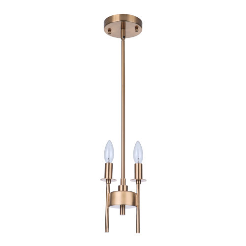 Larrson Satin Brass Two-Light Mini Pendant