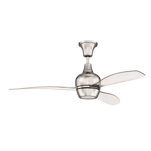 Bordeaux Polished Nickel Led 52-Inch Ceiling Fan With Clear Acrylic Blade