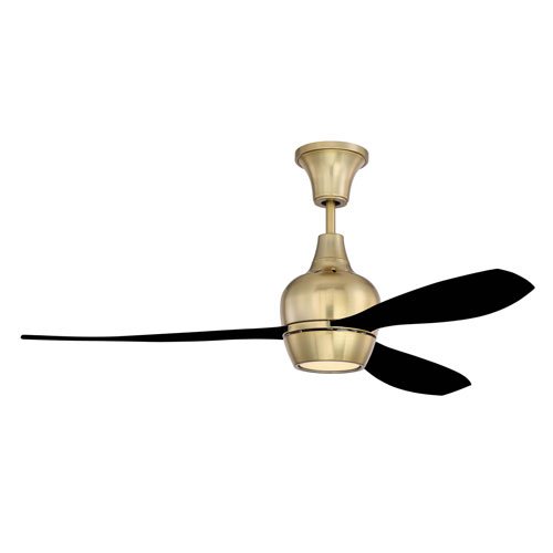 Bordeaux Satin Brass Led 52-Inch Ceiling Fan With Flat Black Blade