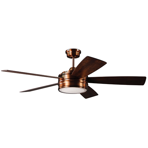 Braxton Brushed Copper Ceiling Fan with LED Light