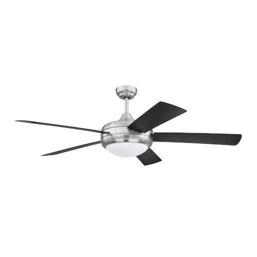 Cronus Brushed Polished Nickel 52-Inch LED Ceiling Fan with Black Blades