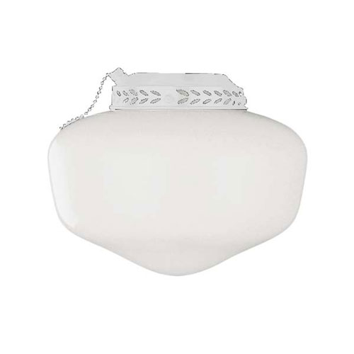 Universal Bowl White One-Light Fan Light Kit With Cased White Glass