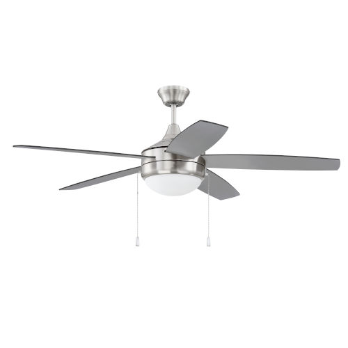 Phaze Brushed Polished Nickel 52-Inch Five-Blade Two-Light Ceiling Fan with Graywood Blade