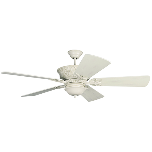 Pavilion Antique White Distressed Two-Light Ceiling Fan