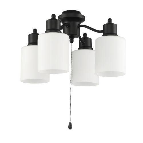 Flat Black Four-Light Fan Light Kit
